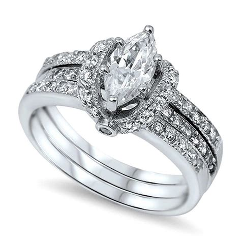 sterling silver women s pave cz wrapped marquise cut wedding ring ebay