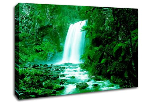 green forest waterfall waterfall canvas stretched canvas