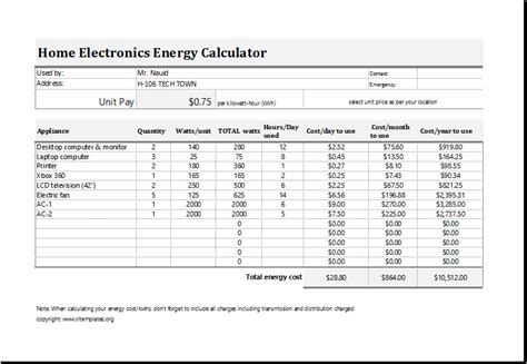 electric energy cost calculator template  excel excel