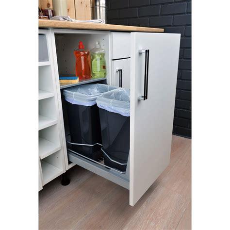 leroy merlin poubelle de cuisine rangement coulissant 2 poubelles pour meuble l 40 cm