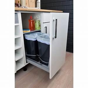 Meuble Poubelle Cuisine : rangement coulissant 2 poubelles pour meuble cm ~ Dallasstarsshop.com Idées de Décoration