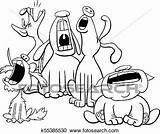 Barking Dogs Howling Characters Cartoon Clip Coloring Clipart Animal Singing Illustration Drawing Fotosearch Line Three Royalty Drawings Gograph Vector sketch template