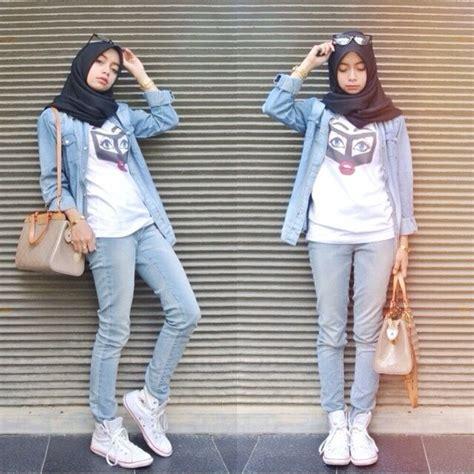 gaya hijab buatmu  nyaman ber jeans  kemeja biar