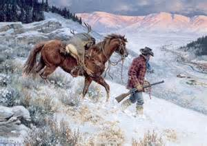 Cowboy Horse Snow Paintings