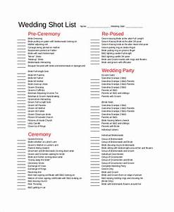 essential elements to be involved in shot list template making With wedding shot list