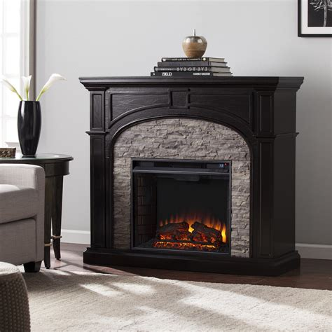 stacked electric fireplace 45 75 quot tanaya electric fireplace w gray stacked