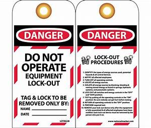 Tags  Lockout  Danger Do Not Operate       6x3  Unrip Vinyl Grommet Pack Of 10