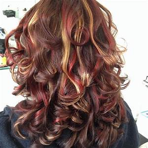 Brown base with intense red and caramel highlights ...