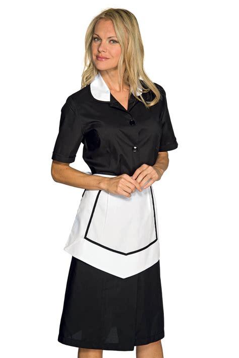 blouse femme de chambre hotellerie blouse et tablier femme de chambre manches courtes noir