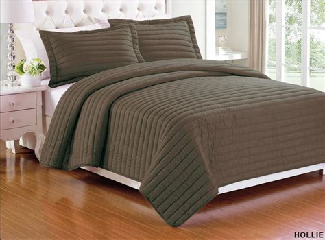 3 Piece Solid Color Quilt Bedspread Coverlet Set +shams