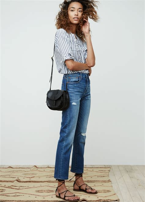 madewell cruiser straight jean worn   terrace lace