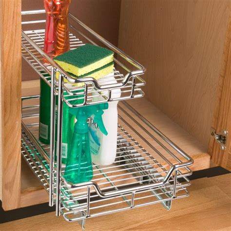 Kitchen Cabinet Storage Organizers Uk by The Container Store Gt Chrome 2 Tier Sliding Organizer For