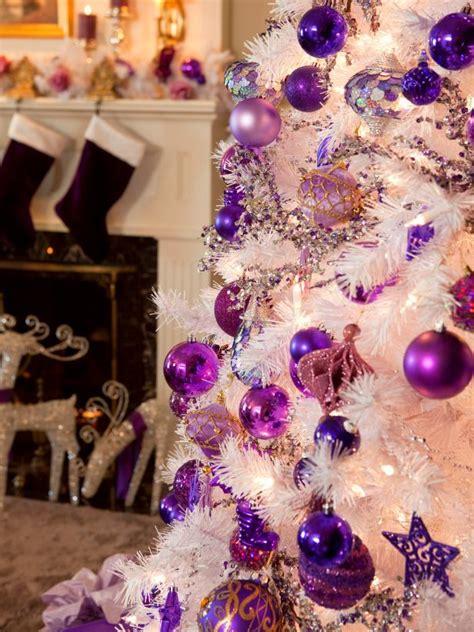retro inspired purple  white christmas decorations diy