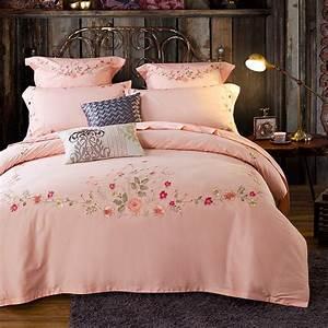 100, Cotton, 4pcs, Girls, Light, Pink, Duvet, Cover, Sets, Queen