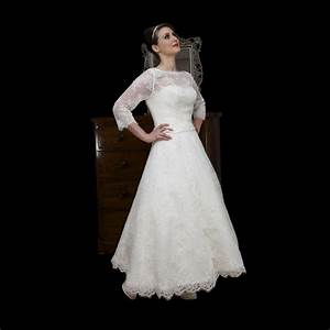 tea length lace ball gown wedding dress with long With tea length wedding dresses with sleeves