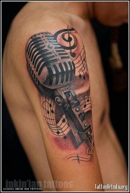tattoo ink microphone  school inked pinterest red ink  love