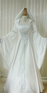 medieval pagan renaissance ivory silver hooded wedding With wiccan wedding dress