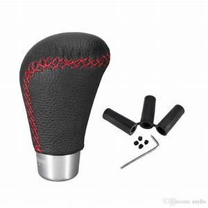 Car Gear Shift Knob Auto Truck Vehicle Leather Red Thread