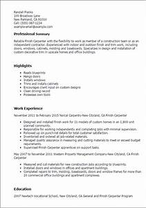 professional finish carpenter templates to showcase your With fix my resume services