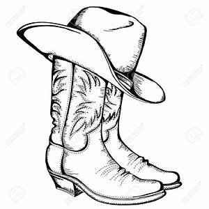 Cowboy Boots And Hat Graphic Illustration Royalty Free ...