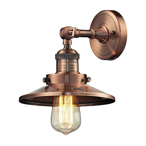 antique copper wall sconce railroad antique copper 8 quot high metal shade wall sconce