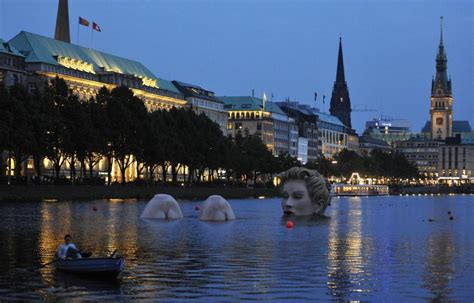 Giant Mermaid Sculpture In Alster Lake, Germany(photos