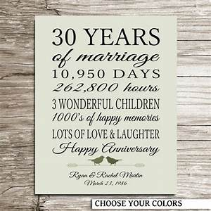 personalized 30th anniversary gift 30 years by With 30 year wedding anniversary gifts