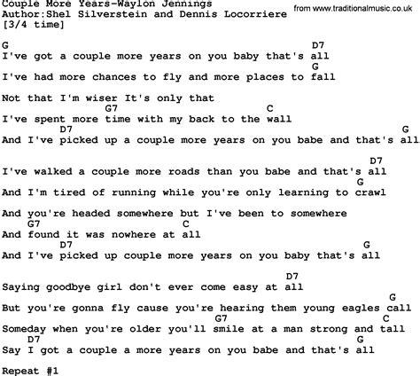 Romanization by shansh1ne @ twitter. Country Music:Couple More Years-Waylon Jennings Lyrics and ...