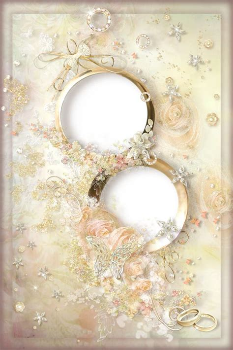 cream wedding photo frame  rings  roses
