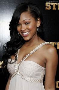 Meagan Good | Long hairstyle with half coilf for black hair