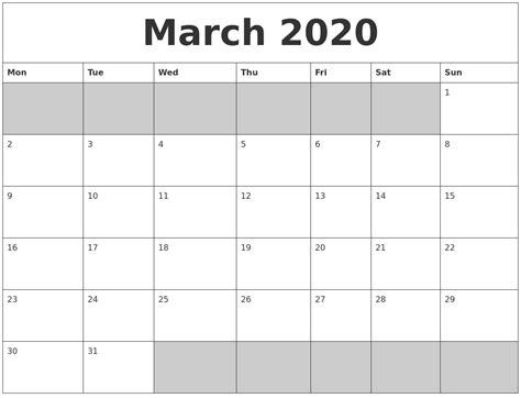 march  blank printable calendar