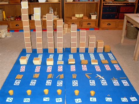 golden bead material  layout  montessori homeschool