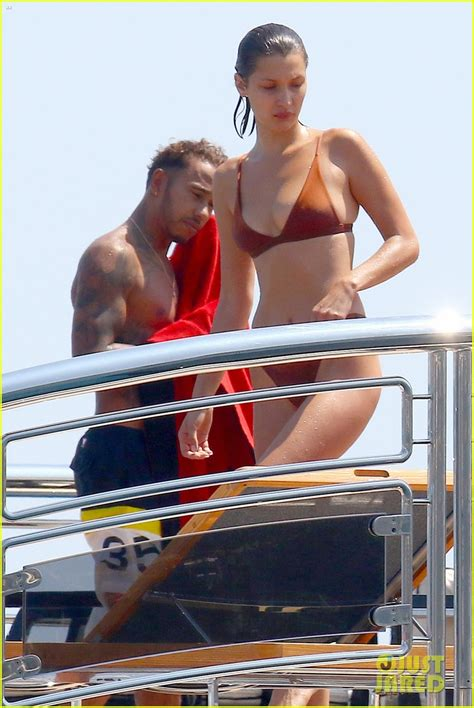 mr eazi bikini bella hadid jumps off a yacht in her bikini photo 3907004
