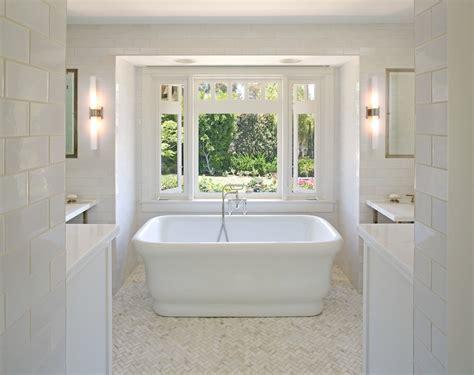 herringbone floor tile Bathroom Traditional with bathtub freestanding tub herringbone