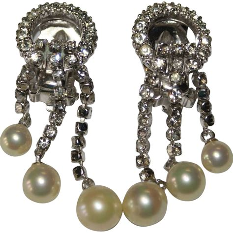 ciner faux pearl rhinestone drop chandelier earrings