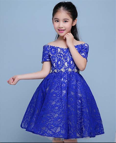 jual dress brokat biru import  lapak baju anak branded