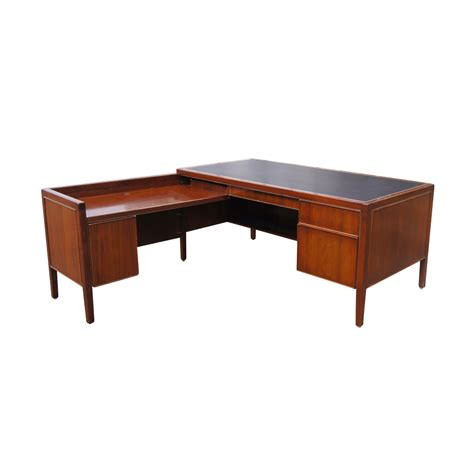 Vintage L Shaped Stow Davis Leather Wood Desk Ebay
