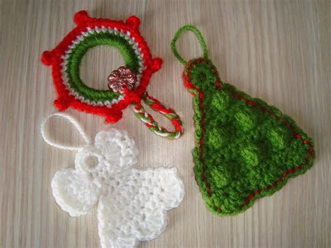 handmade by camelia pattern three ornaments crocheted