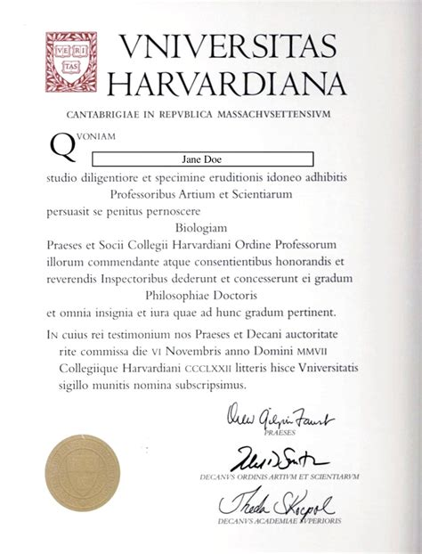 Phd Diploma Template by Translation Harvard Phd Diploma Curington