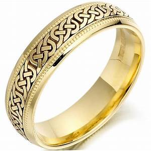 Irish Wedding Ring Mens Gold Celtic Knots Beaded Wedding