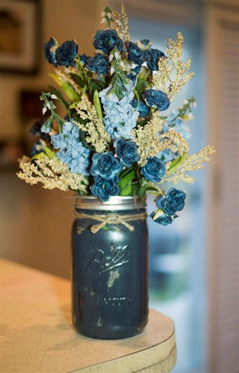 Navy Blue Flower Vases by Jar Painted Vase With Light Blue And Navy Silk