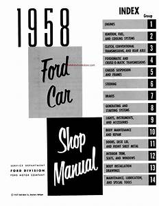 1958 Ford Cars  Station Wagons  Ranchero  Courier Shop Manual