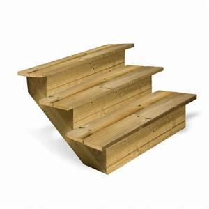 Marche Bois Escalier : escalier en bois 3 marches pleines deck linea ~ Voncanada.com Idées de Décoration