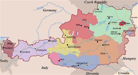 political map  austria pictures  pin  pinterest