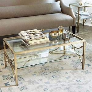 celine clear and gold coffee table With gold brass coffee table
