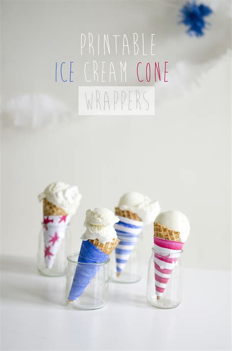 printable ice cream cone wrappers willowday