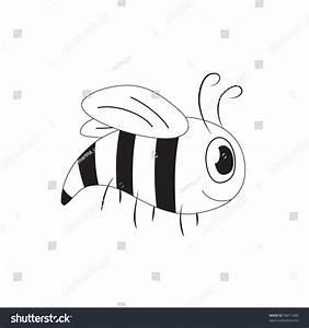 Cute Cartoon Bee (Yellow-Jacket), Black And White, Vector ...