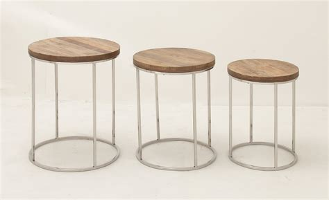 butler coffee table modern stainless steel wood top set 3 nesting tables