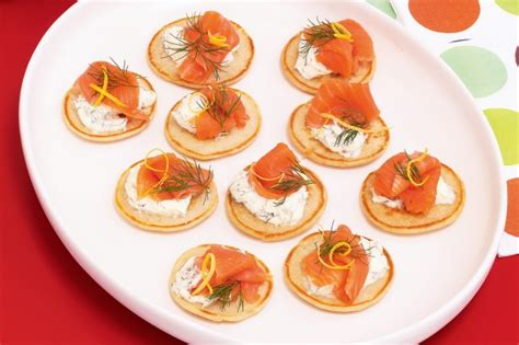 easy canape recipes nigella blini with salmon and mascarpone recipe taste com au