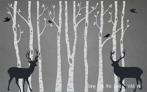 Birch Tree Vinyl Decal Set with Deer and Birds by